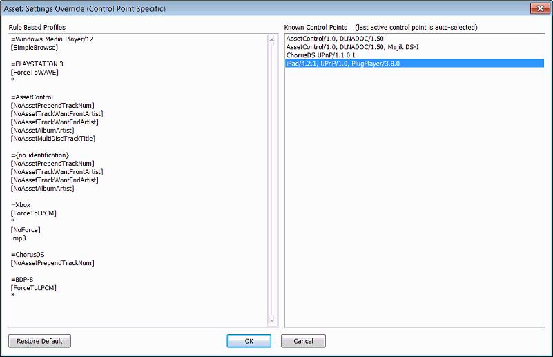 Asset UPnP DLNA Configuration
