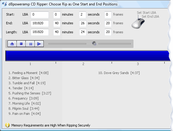 click the left mouse button on the blue line to set the ripping start position right mouse sets the ripping end position a final note if using rip as one